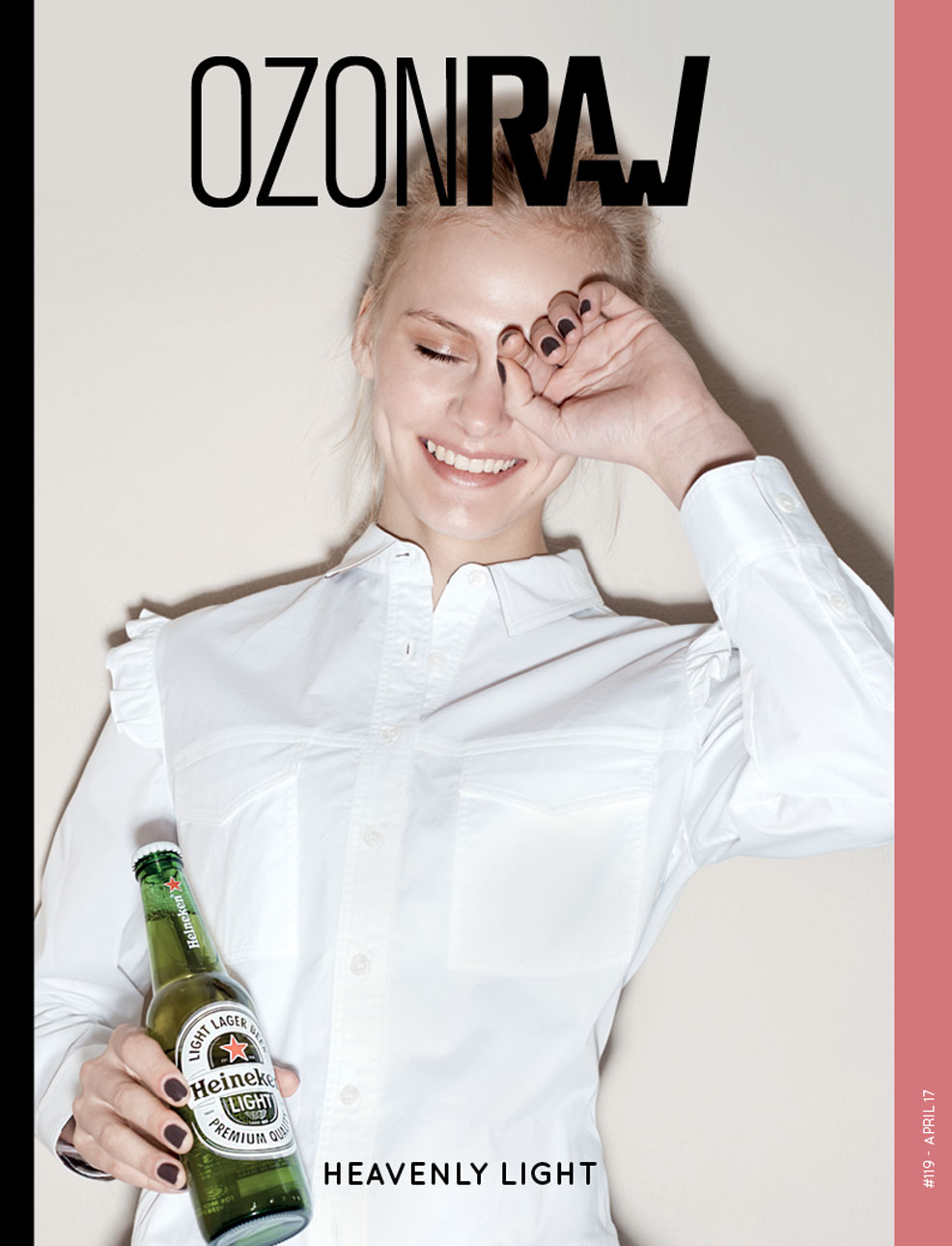 Ksenia brightens with the heavenly light on the cover of Ozon Mag.